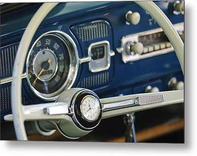 1965 Volkswagen Vw Beetle Steering Wheel Metal Print by Jill Reger