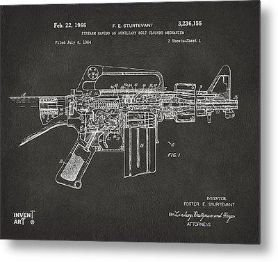 1966 M-16 Gun Patent Gray Metal Print by Nikki Marie Smith