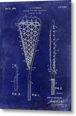 1969 Lacrosse Stick Patent Drawing Blue Metal Print by Jon Neidert