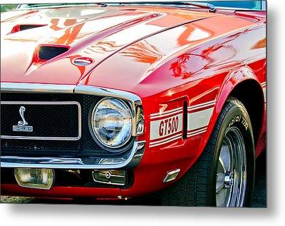 1969 Shelby Cobra Gt500 Front End - Grille Emblem Metal Print by Jill Reger