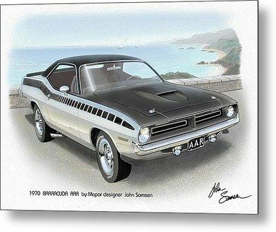 1970 Barracuda Aar Cuda Plymouth Muscle Car Sketch Rendering Metal Print by John Samsen