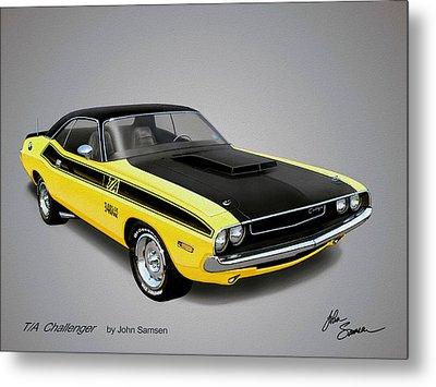 1970 Challenger T-a Muscle Car Sketch Rendering Metal Print by John Samsen