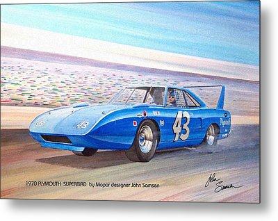 1970 Superbird Petty Nascar Racecar Muscle Car Sketch Rendering Metal Print by John Samsen