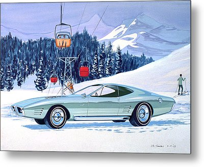 1972 Barracuda Cuda Plymouth  Vintage Styling Design Concept Rendering Sk Metal Print by John Samsen