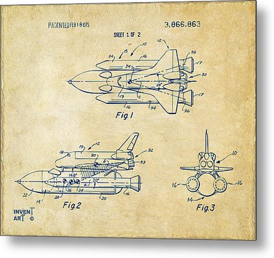 1975 Space Shuttle Patent - Vintage Metal Print by Nikki Marie Smith