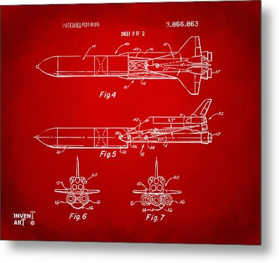 1975 Space Vehicle Patent - Red Metal Print by Nikki Marie Smith