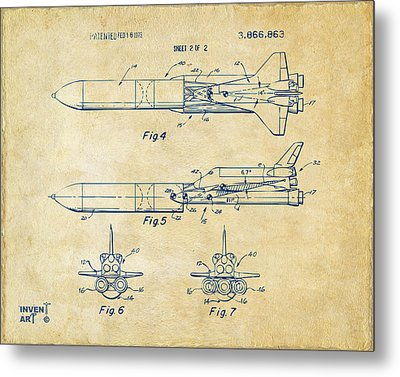 1975 Space Vehicle Patent - Vintage Metal Print by Nikki Marie Smith