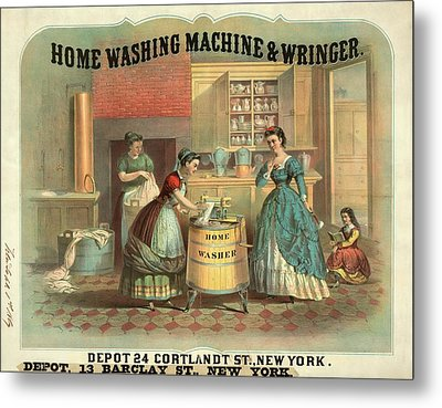 19th Century Advert For A Washing Machine Metal Print by Library Of Congress