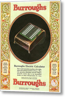 1920s Usa Equipment Burroughs Adding Metal Print by The Advertising Archives