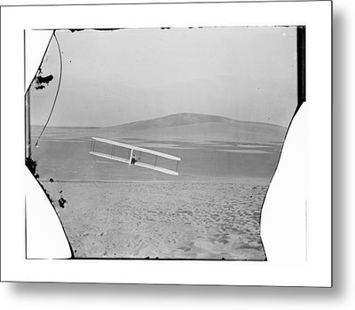 1902 Wilbur Wright Piloting Glider Metal Print by MMG Archives