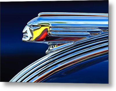 1939 Pontiac Silver Streak Chief Hood Ornament Metal Print by Jill Reger