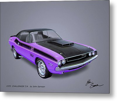 1970 Challenger T-a  Muscle Car Sketch Rendering Metal Print by John Samsen