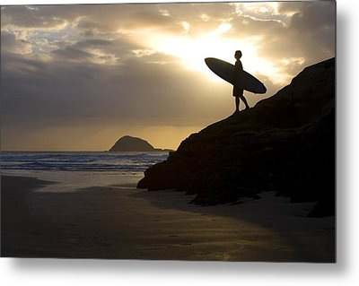 A Surfer On Muriwai Beach New Zealand Metal Print by Deddeda
