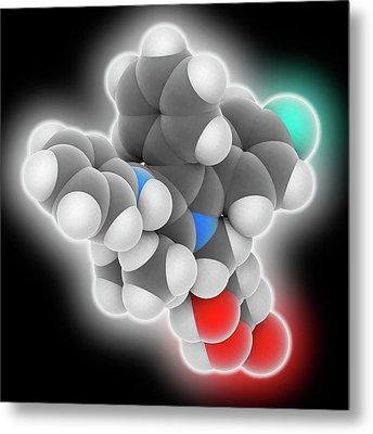 Atorvastatin Drug Molecule Metal Print by Laguna Design