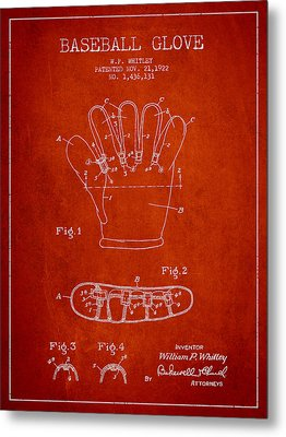 Baseball Glove Patent Drawing From 1922 Metal Print by Aged Pixel