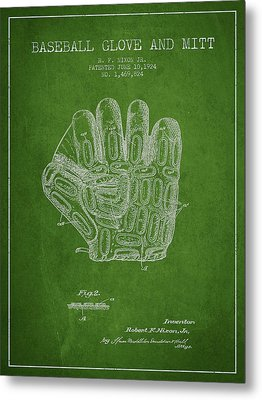 Baseball Glove Patent Drawing From 1924 Metal Print by Aged Pixel