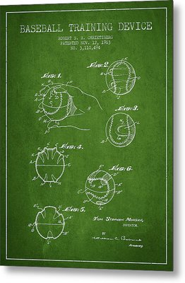 Baseball Training Device Patent Drawing From 1963 Metal Print by Aged Pixel