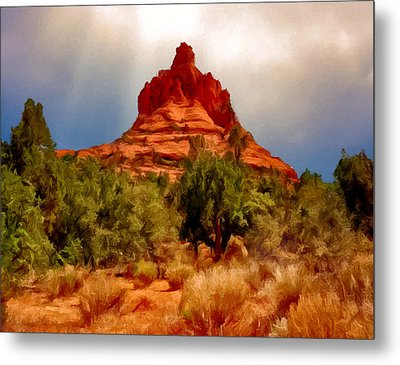 Bell Rock Vortex Painting Metal Print by Bob and Nadine Johnston