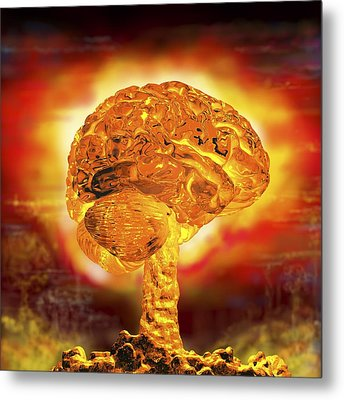 Brain As Atomic Bomb Metal Print by Russell Kightley