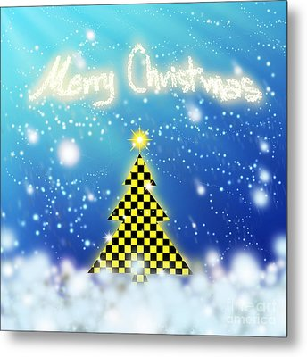 Chess Style Christmas Tree Metal Print by Atiketta Sangasaeng
