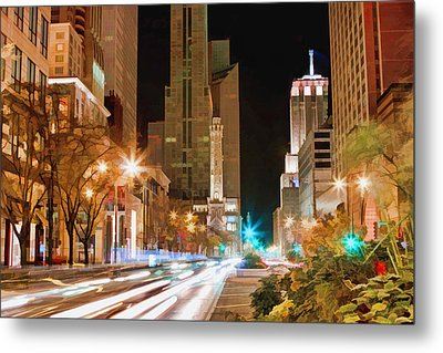 Chicago Michigan Avenue Light Streak Metal Print by Christopher Arndt