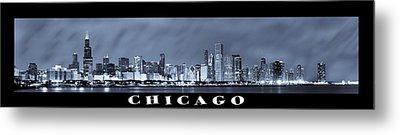 Chicago Skyline At Night Metal Print by Sebastian Musial