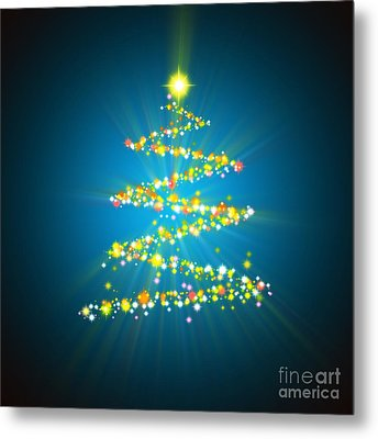 Christmas Tree Metal Print by Atiketta Sangasaeng