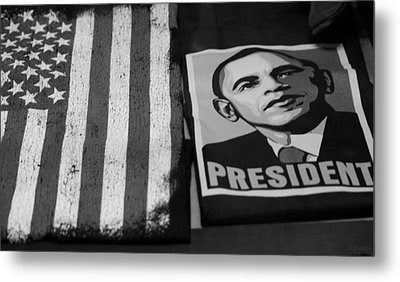 Commercialization Of The President Of The United States Of America In Black And White  Metal Print by Rob Hans