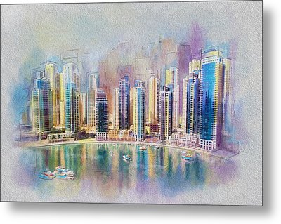 Downtown Dubai Skyline Metal Print by Corporate Art Task Force