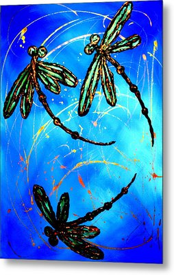 Electric Blue Dragonfly Flit Metal Print by Lyndsey Hatchwell