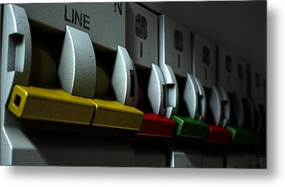 Electrical Circuit Breaker Panel Metal Print by Allan Swart