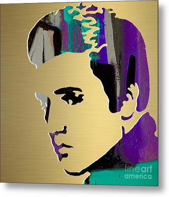 Elivs Gold Series Metal Print by Marvin Blaine