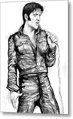 Elvis Presley Art Drawing Sketch Portrait Metal Print by Kim Wang