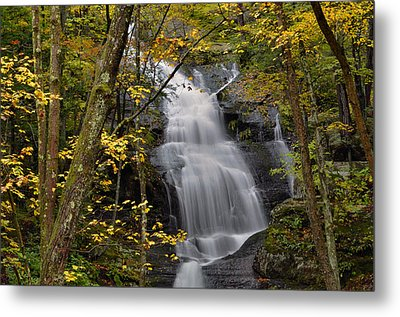 Forest Waterfall In Autumn Metal Print by Stephen  Vecchiotti
