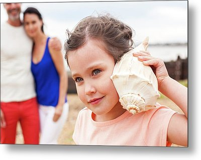 Girl With Seashell Metal Print by Ian Hooton