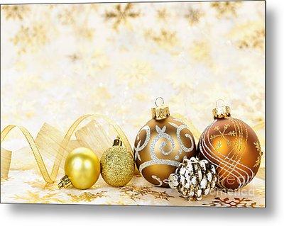 Golden Christmas Ornaments  Metal Print by Elena Elisseeva