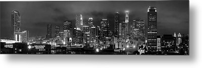 Gotham City - Los Angeles Skyline Downtown At Night Metal Print by Jon Holiday
