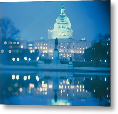 Government Building Lit Up At Night Metal Print by Panoramic Images