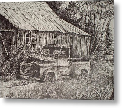 Grandpa's Old Barn With Chevy Truck Metal Print by Chris Shepherd