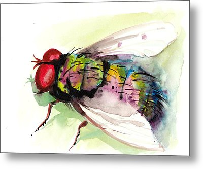 Green Fly Original Watercolor Metal Print by Tiberiu Soos