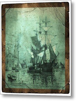 Grungy Historic Seaport Schooner Metal Print by John Stephens