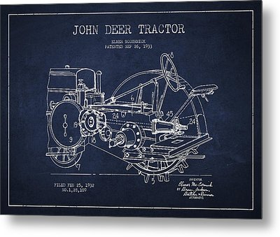 John Deer Tractor Patent Drawing From 1933 Metal Print by Aged Pixel