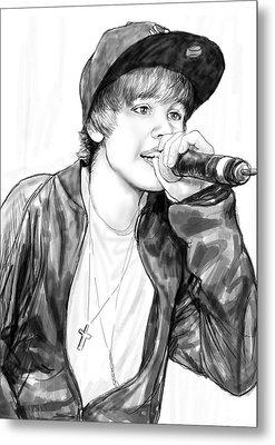 Justin Bieber Art Drawing Sketch Portrait Metal Print by Kim Wang