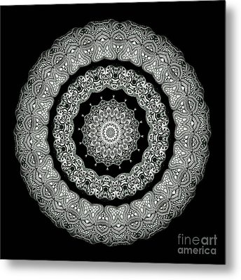 Kaleidoscope Ernst Haeckl Sea Life Series Black And White Set On Metal Print by Amy Cicconi