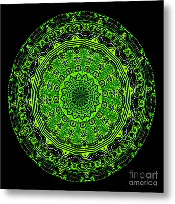 Kaleidoscope Of Glowing Circuit Board Metal Print by Amy Cicconi