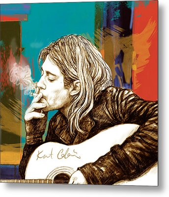 Kurt Cobain Stylised Pop Morden Art Drawing Sketch Portrait Metal Print by Kim Wang