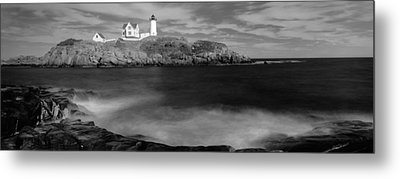 Lighthouse At A Coast, Nubble Metal Print by Panoramic Images