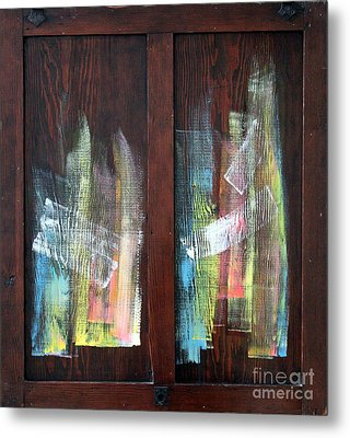 Log Fire Cabinet Door Metal Print by Asha Carolyn Young