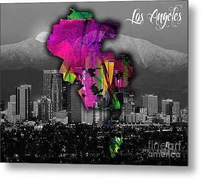 Los Angeles Map And Skyline Watercolor Metal Print by Marvin Blaine