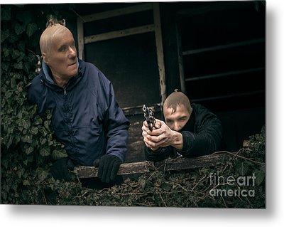 Masked Men With A Gun Metal Print by Jan Mika